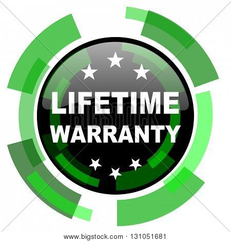 lifetime warranty icon, green modern design glossy round button, web and mobile app design illustration