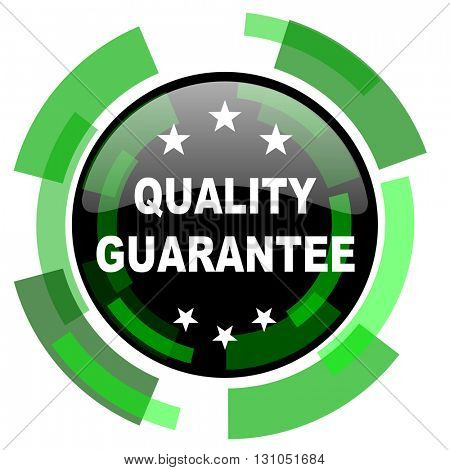 quality guarantee icon, green modern design glossy round button, web and mobile app design illustration