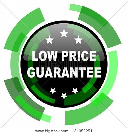 low price guarantee icon, green modern design glossy round button, web and mobile app design illustration
