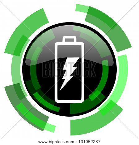 battery icon, green modern design glossy round button, web and mobile app design illustration