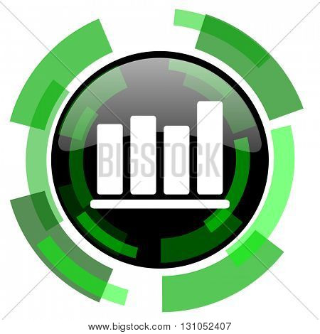 bar chart icon, green modern design glossy round button, web and mobile app design illustration