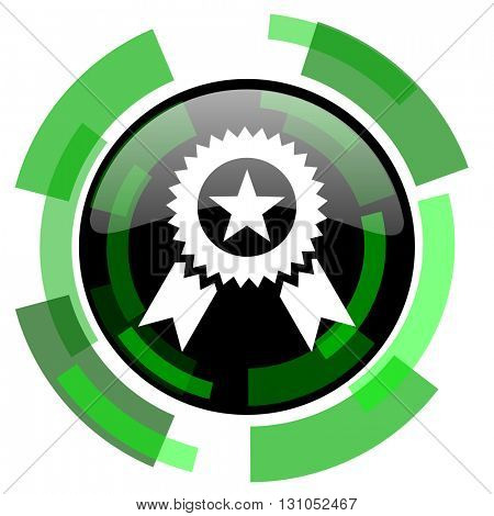award icon, green modern design glossy round button, web and mobile app design illustration