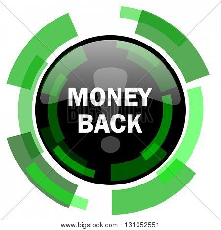 money back icon, green modern design glossy round button, web and mobile app design illustration