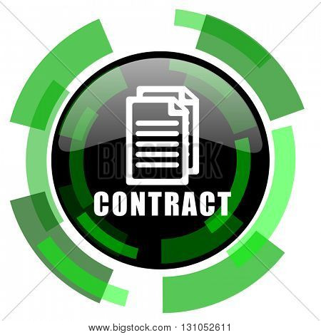 contract icon, green modern design glossy round button, web and mobile app design illustration