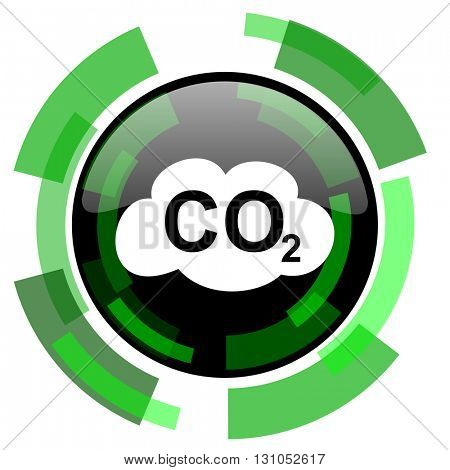 carbon dioxide icon, green modern design glossy round button, web and mobile app design illustration