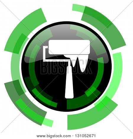 brush icon, green modern design glossy round button, web and mobile app design illustration