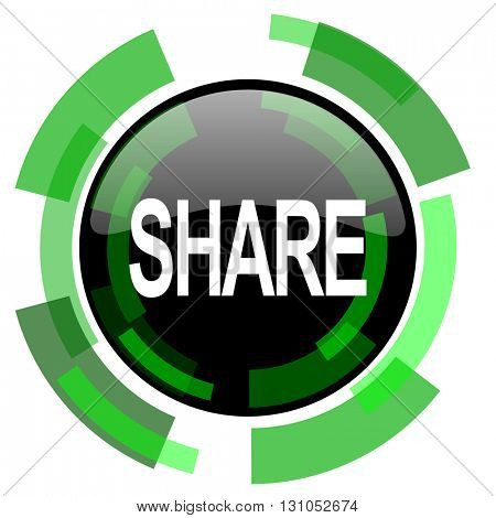share icon, green modern design glossy round button, web and mobile app design illustration