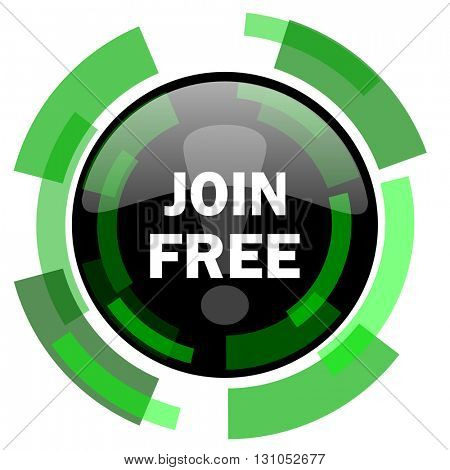 join free icon, green modern design glossy round button, web and mobile app design illustration