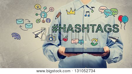 Hashtags Concept With Young Man