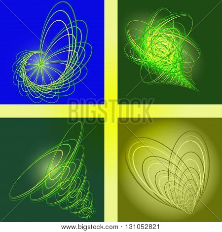 flower, tornado, heart, cornucopia.	four logo for a healthy diet or hygiene
