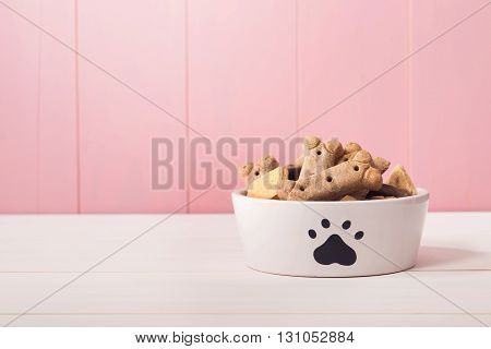 Dog Food In A Bowl Filled With Treats
