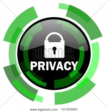 privacy icon, green modern design glossy round button, web and mobile app design illustration