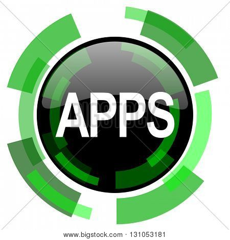 apps icon, green modern design glossy round button, web and mobile app design illustration
