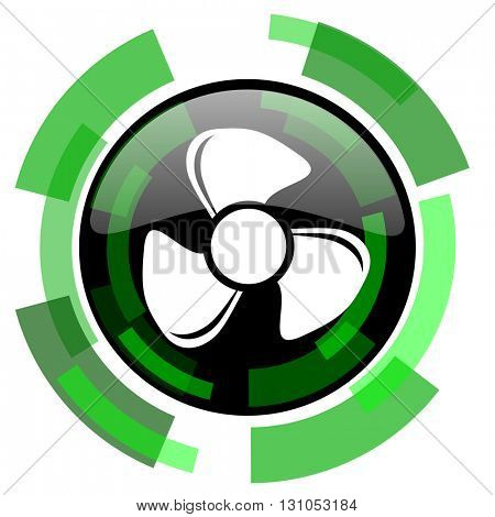 fan icon, green modern design glossy round button, web and mobile app design illustration