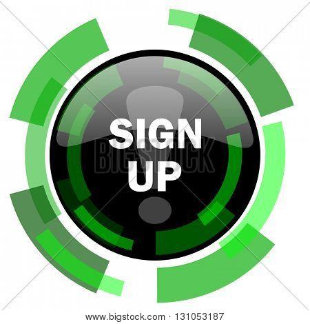 sign up icon, green modern design glossy round button, web and mobile app design illustration