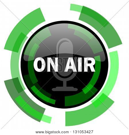 on air icon, green modern design glossy round button, web and mobile app design illustration