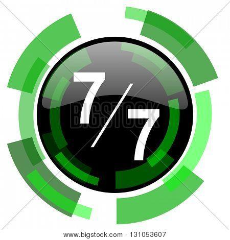 7 per 7 icon, green modern design glossy round button, web and mobile app design illustration