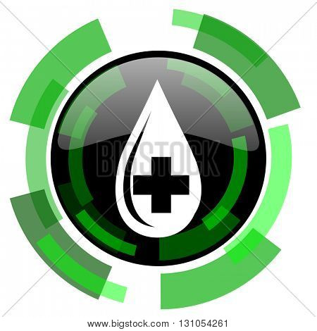 blood icon, green modern design glossy round button, web and mobile app design illustration