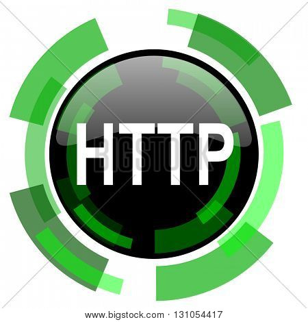 http icon, green modern design glossy round button, web and mobile app design illustration