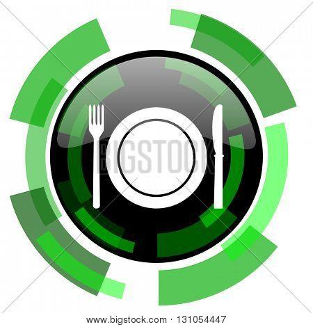 restaurant icon, green modern design glossy round button, web and mobile app design illustration