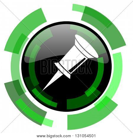 pin icon, green modern design glossy round button, web and mobile app design illustration