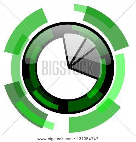 diagram icon, green modern design glossy round button, web and mobile app design illustration