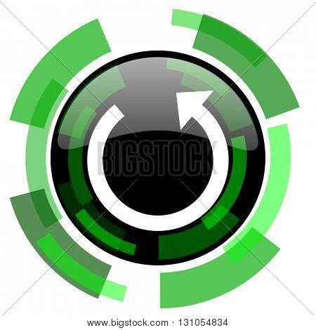 rotate icon, green modern design glossy round button, web and mobile app design illustration