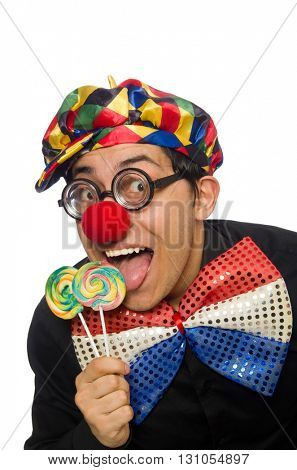 Funny clown with lollipop isolated on white