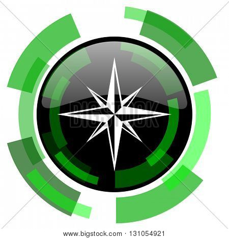 compass icon, green modern design glossy round button, web and mobile app design illustration