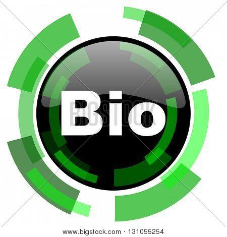 bio icon, green modern design glossy round button, web and mobile app design illustration
