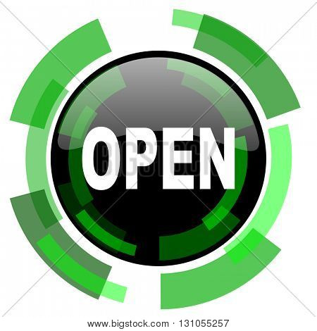 open icon, green modern design glossy round button, web and mobile app design illustration