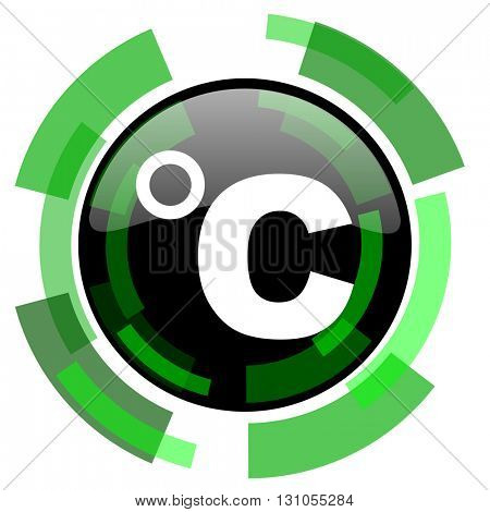 celsius icon, green modern design glossy round button, web and mobile app design illustration