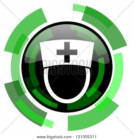 nurse icon, green modern design glossy round button, web and mobile app design illustration