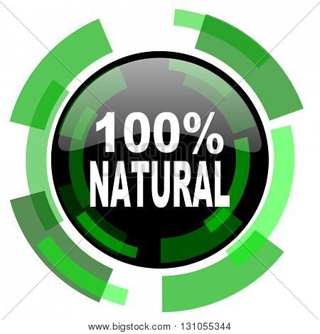 natural icon, green modern design glossy round button, web and mobile app design illustration