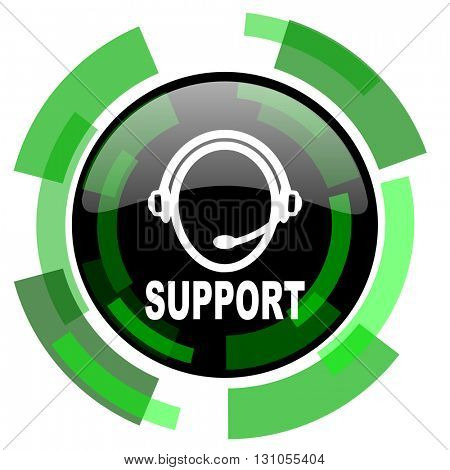 support icon, green modern design glossy round button, web and mobile app design illustration