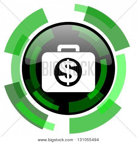 financial icon, green modern design glossy round button, web and mobile app design illustration