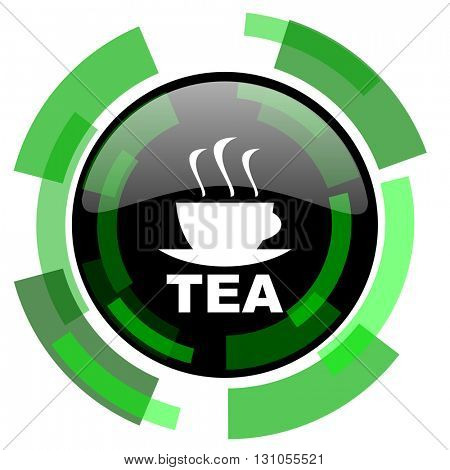 tea icon, green modern design glossy round button, web and mobile app design illustration