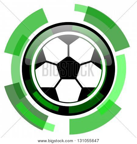 soccer icon, green modern design glossy round button, web and mobile app design illustration