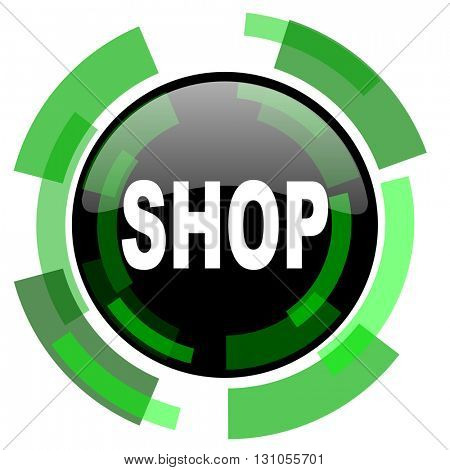 shop icon, green modern design glossy round button, web and mobile app design illustration