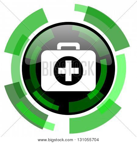 first aid icon, green modern design glossy round button, web and mobile app design illustration
