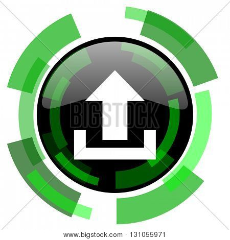 upload icon, green modern design glossy round button, web and mobile app design illustration