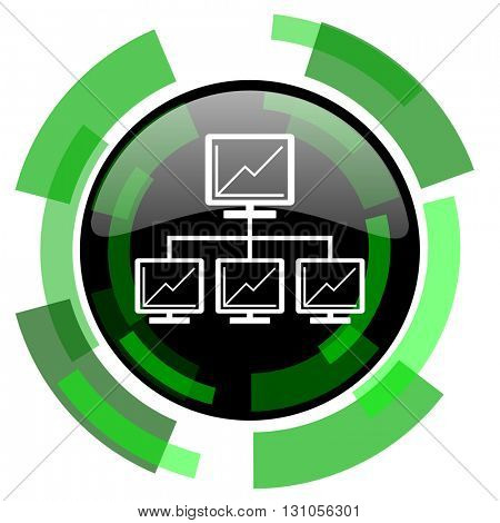 network icon, green modern design glossy round button, web and mobile app design illustration