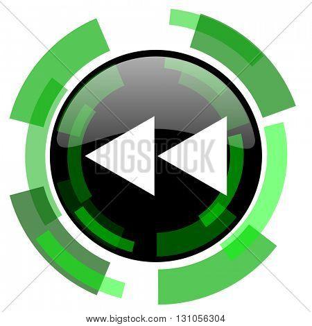 rewind icon, green modern design glossy round button, web and mobile app design illustration