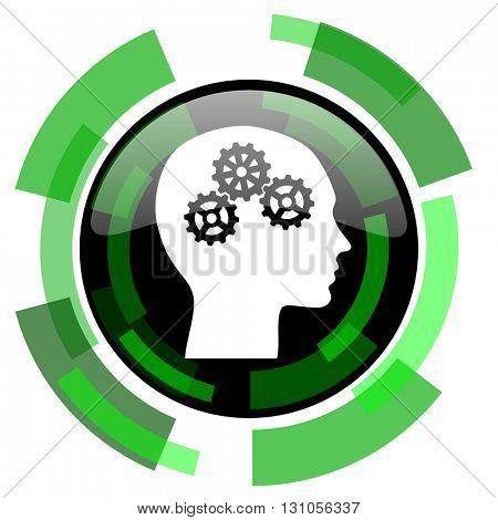 head icon, green modern design glossy round button, web and mobile app design illustration