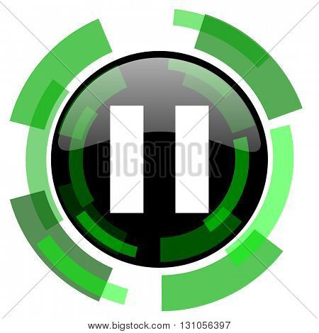 pause icon, green modern design glossy round button, web and mobile app design illustration