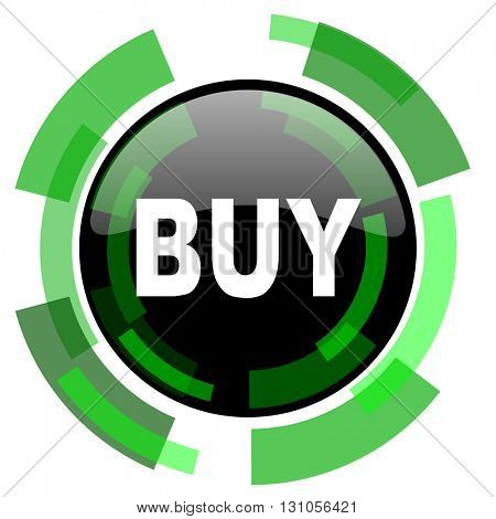 buy icon, green modern design glossy round button, web and mobile app design illustration