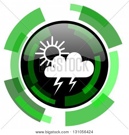 storm icon, green modern design glossy round button, web and mobile app design illustration