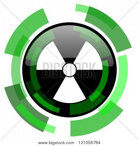 radiation icon, green modern design glossy round button, web and mobile app design illustration
