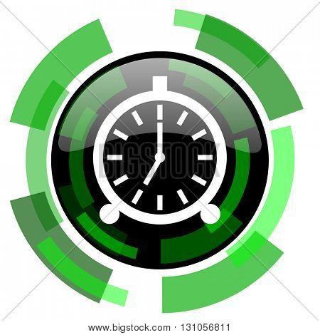 alarm icon, green modern design glossy round button, web and mobile app design illustration