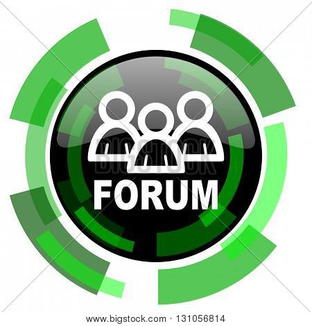 forum icon, green modern design glossy round button, web and mobile app design illustration